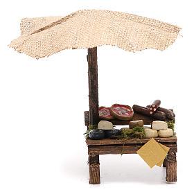 Comida em Miniatura para Presépio: Banca presépio com chapéu-de-sol pizza e queijo 16x10x12 cm