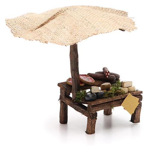 Banca presépio com chapéu-de-sol pizza e queijo 16x10x12 cm 3