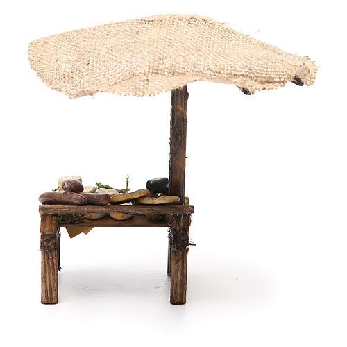 Banca presépio com chapéu-de-sol pizza e queijo 16x10x12 cm 4