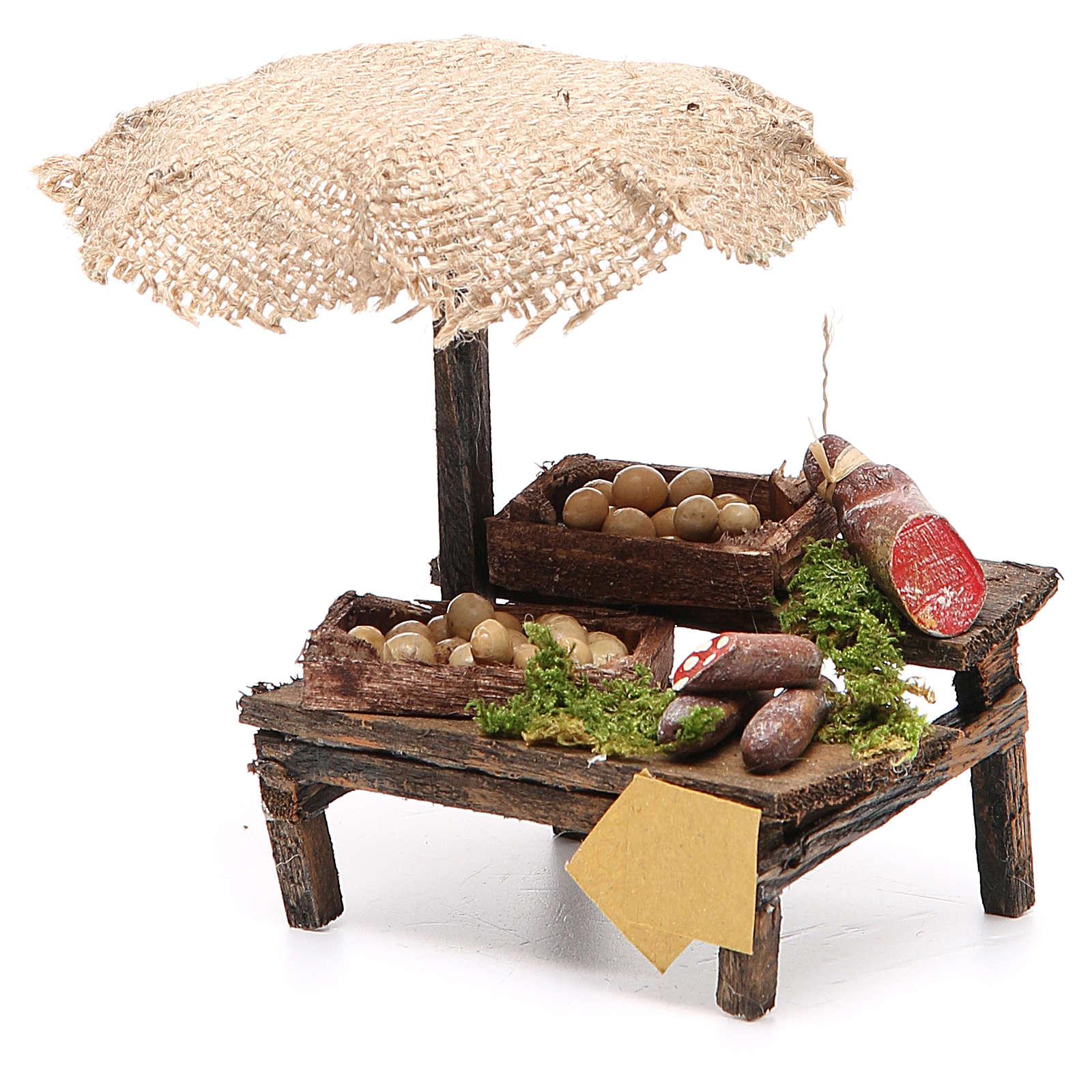 Banco salumi uova presepe con ombrello 12x10x12 cm 4