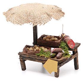 Banco salumi uova presepe con ombrello 12x10x12 cm s2