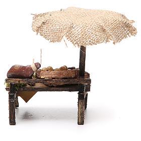 Banco salumi uova presepe con ombrello 12x10x12 cm s4