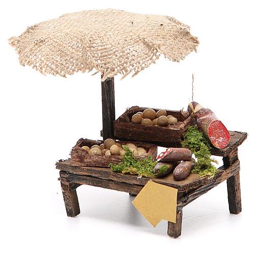 Banco salumi uova presepe con ombrello 12x10x12 cm 2