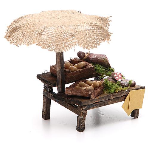 Banco salumi uova presepe con ombrello 12x10x12 cm 3