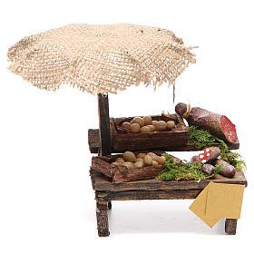 Comida em Miniatura para Presépio: Banca charcutaria e ovos presépio com chapéu-de-sol 12x10x12 cm