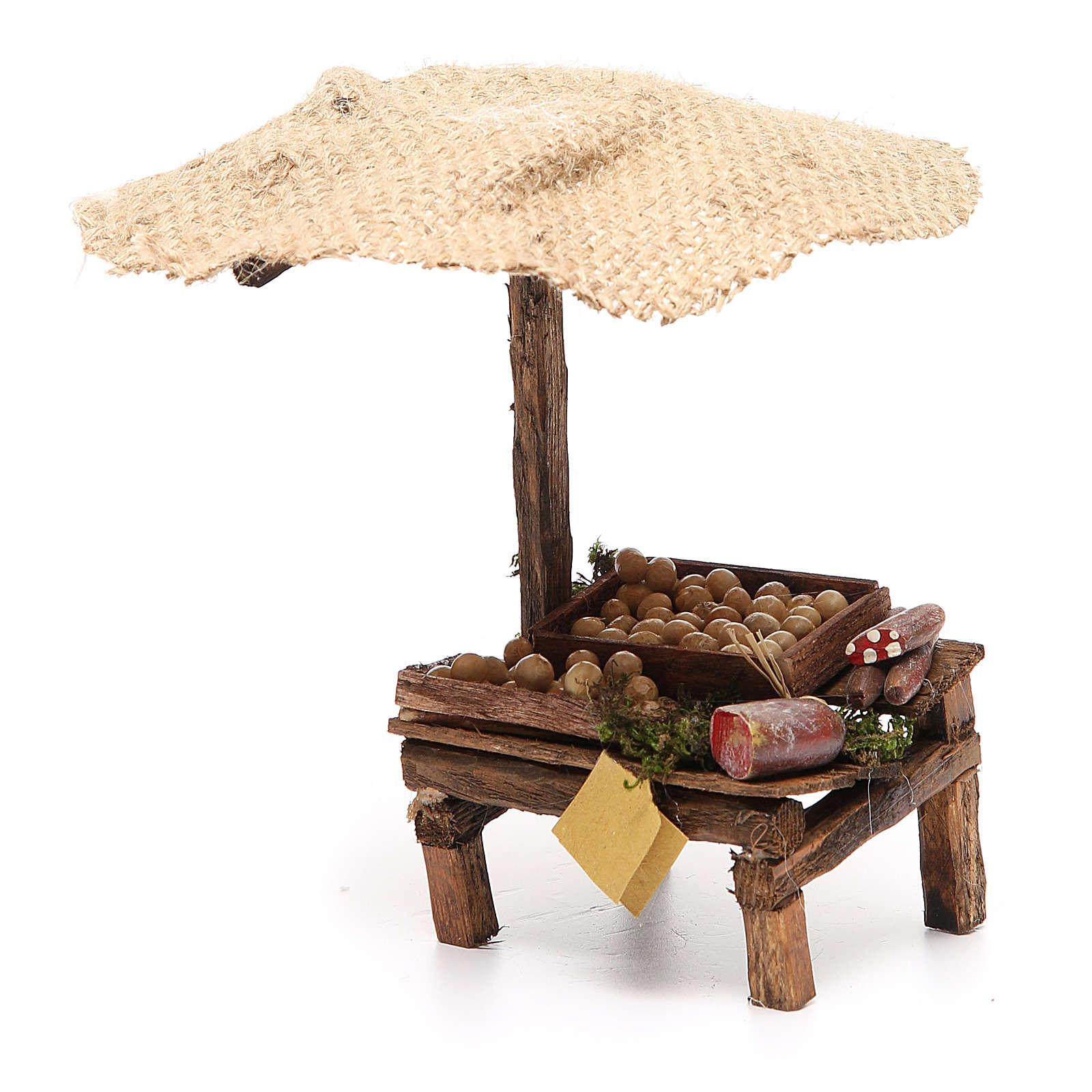 Puesto de mercado para belén con sombrilla, huevos y embutidos 16x10x12 cm 4
