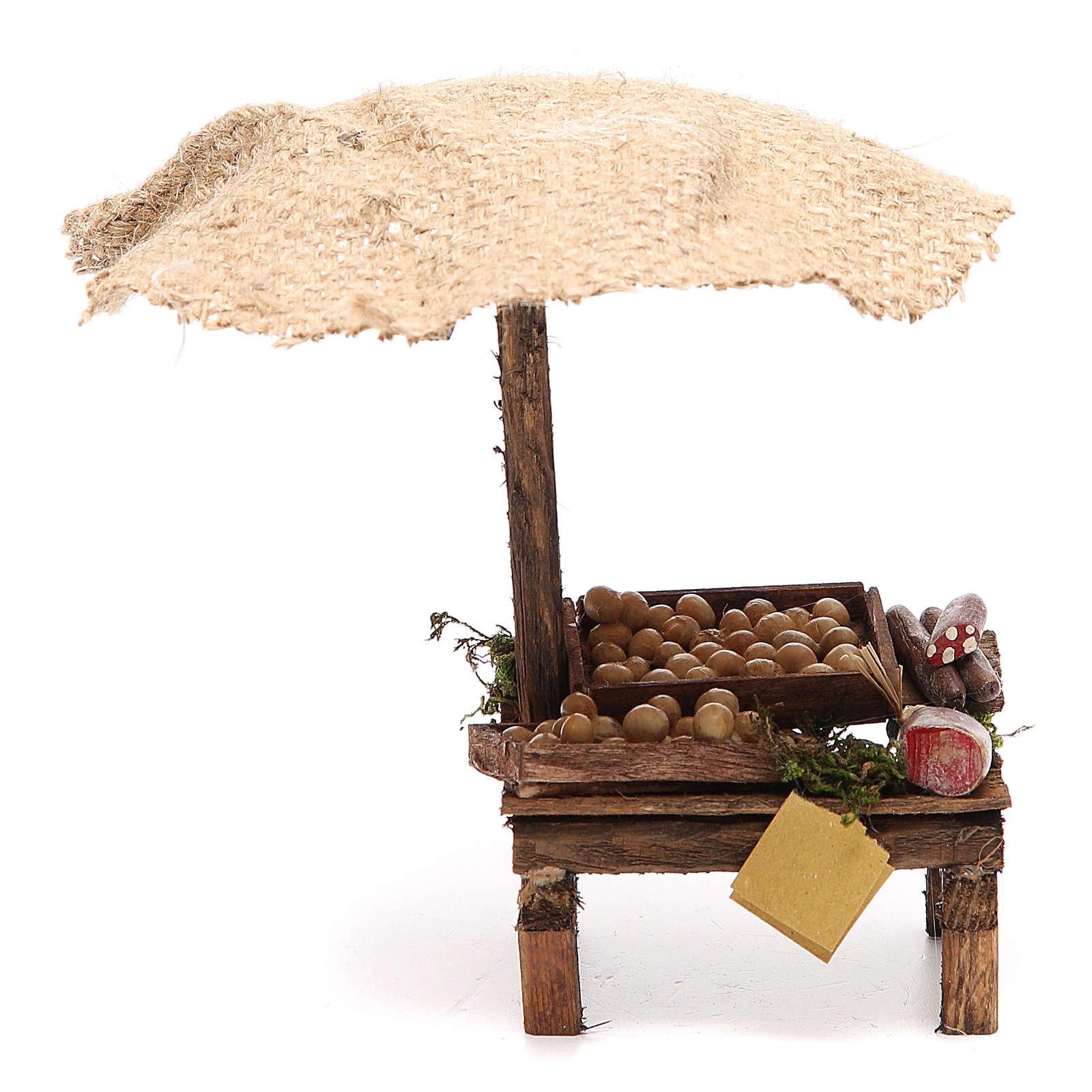 Banc charcuterie et oeufs crèche avec parasol 16x10x12 cm 4