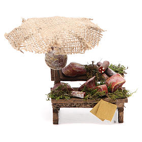 Workshop nativity with beach umbrella, cured meats 12x10x12cm s1