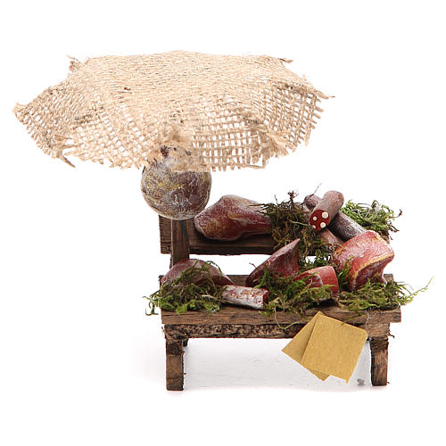 Workshop nativity with beach umbrella, cured meats 12x10x12cm 1