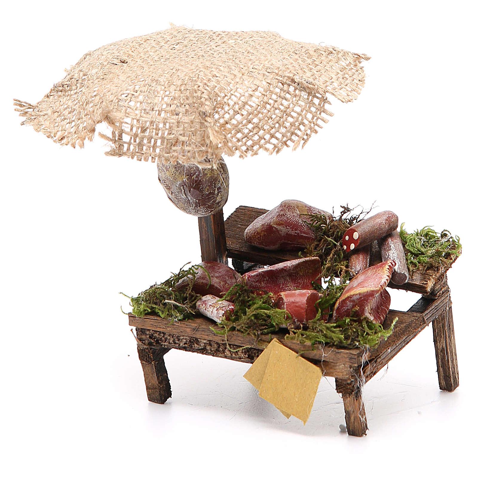 Puesto de mercado para belén con sombrilla, carne y embutidos 12x10x12 cm 4