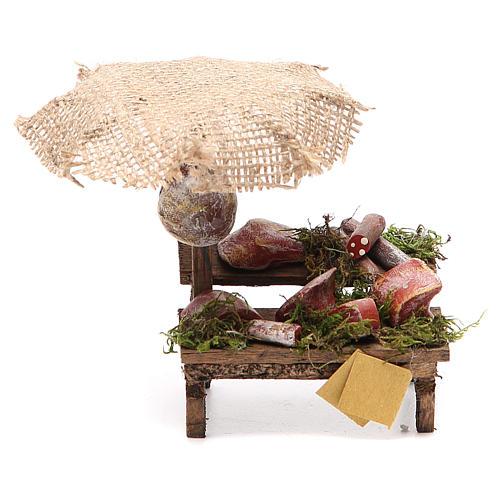 Puesto de mercado para belén con sombrilla, carne y embutidos 12x10x12 cm 1