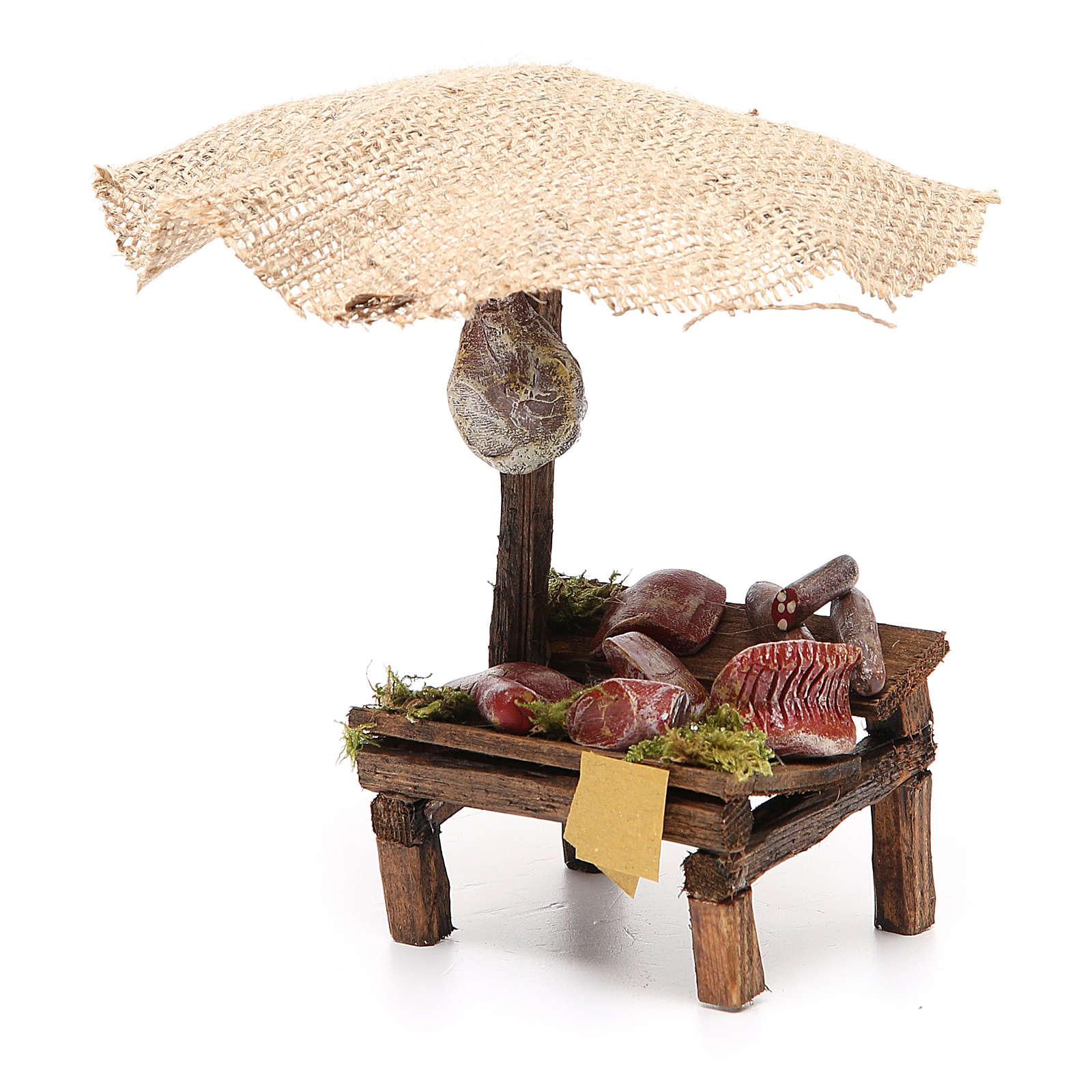 Banchetto salumi carne con ombrello presepe 12 cm 16x10x12 4