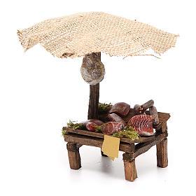 Banchetto salumi carne con ombrello presepe 12 cm 16x10x12 s2