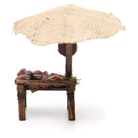 Banchetto salumi carne con ombrello presepe 12 cm 16x10x12 s4