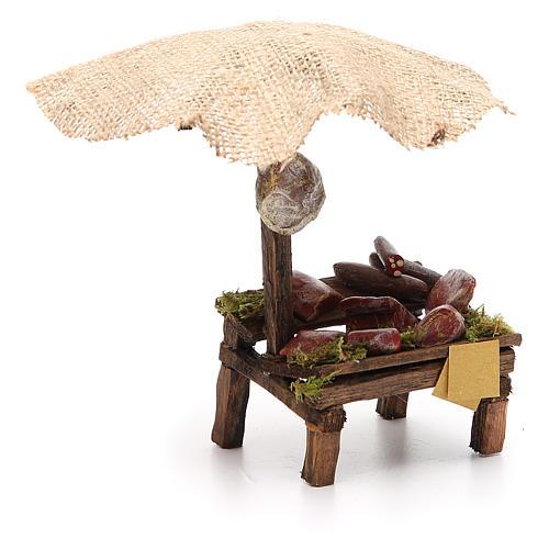 Banchetto salumi carne con ombrello presepe 12 cm 16x10x12 3