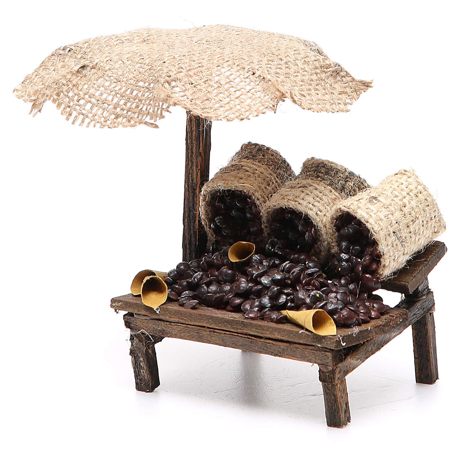 Workshop nativity with beach umbrella, chestnuts 12x10x12cm 4