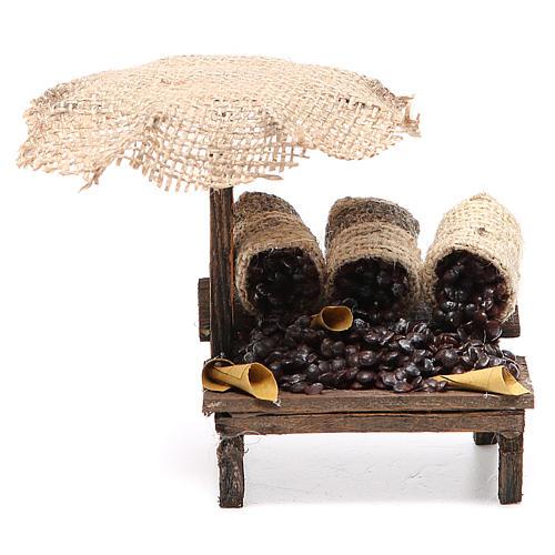Workshop nativity with beach umbrella, chestnuts 12x10x12cm 1