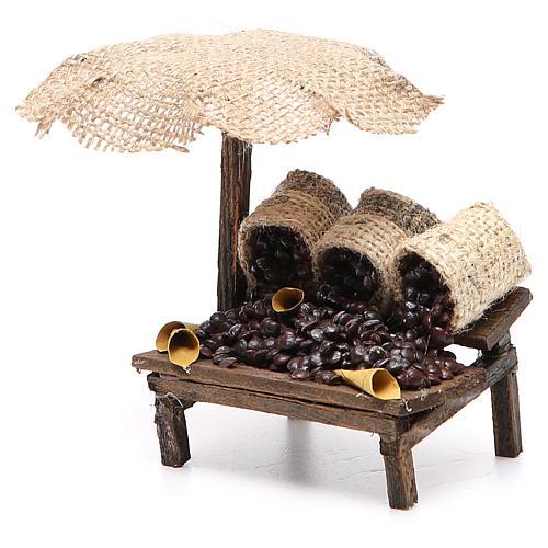 Workshop nativity with beach umbrella, chestnuts 12x10x12cm 2