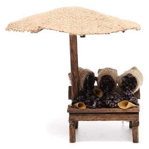 Bottega presepe con ombrello castagne 16x10x12 cm 1