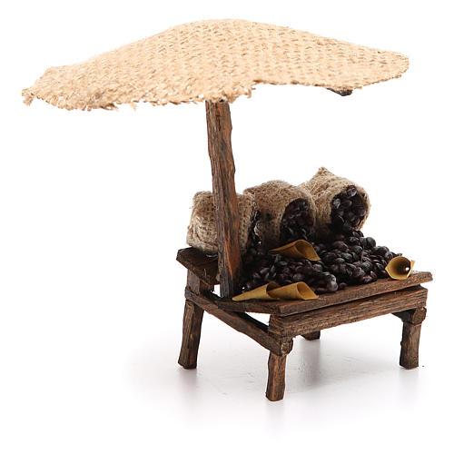 Bottega presepe con ombrello castagne 16x10x12 cm 3