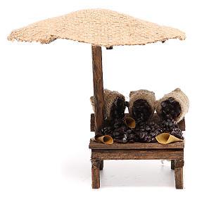 Comida em Miniatura para Presépio: Loja de presépio com chapéu-de-sol castanhas 16x10x12 cm