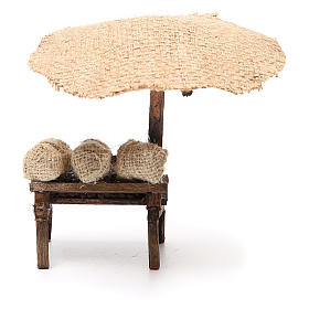 Workshop nativity with beach umbrella, chestnuts 16x10x12cm s4