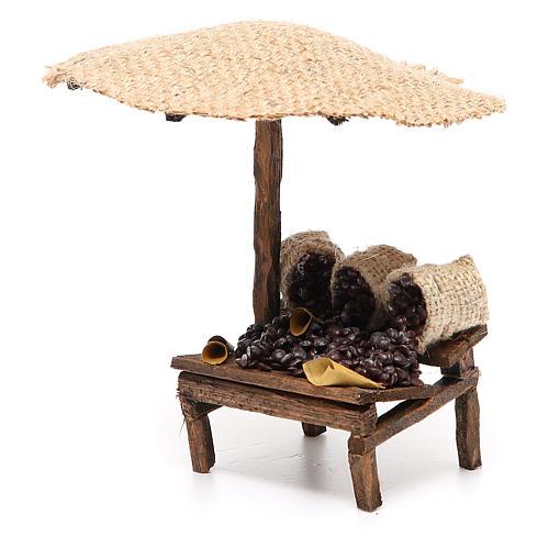 Workshop nativity with beach umbrella, chestnuts 16x10x12cm 2