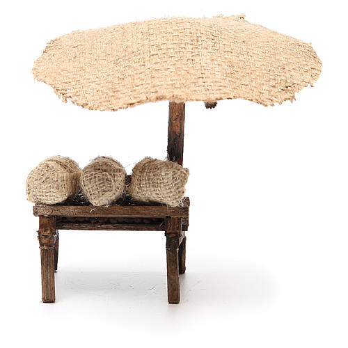 Workshop nativity with beach umbrella, chestnuts 16x10x12cm 4