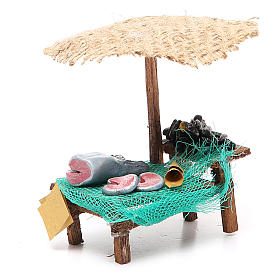 Workshop nativity with beach umbrella, fish and mussels 12x10x12cm s3