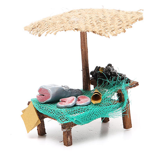 Workshop nativity with beach umbrella, fish and mussels 12x10x12cm 3