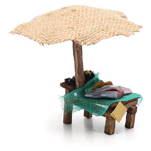 Bottega presepe con ombrello pesce cozze 16x10x12 cm 4