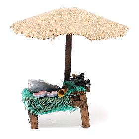 Comida em Miniatura para Presépio: Loja presépio com chapéu de sol peixe e mexilhões 16x10x12 cm
