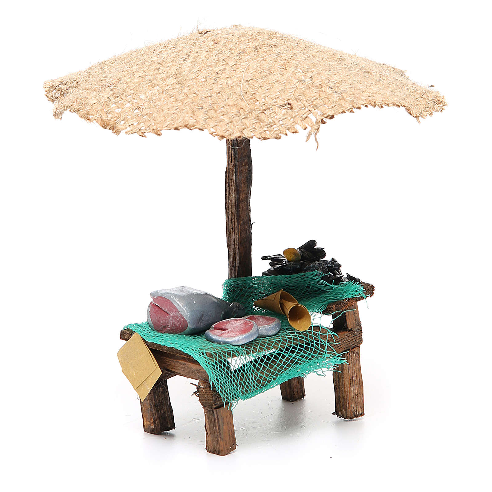 Workshop nativity with beach umbrella, fish and mussels 16x10x12cm 4