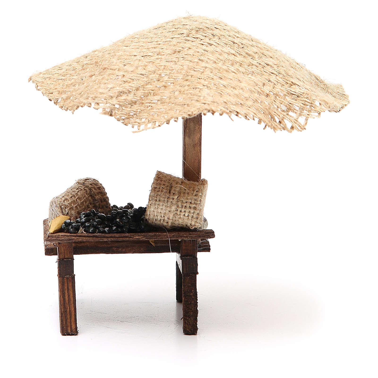 Bottega presepe con ombrello olive 16x10x12 cm 4