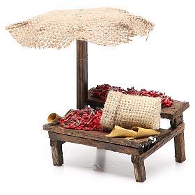 Banco presepe con ombrello peperoncini 12x10x12 cm s2