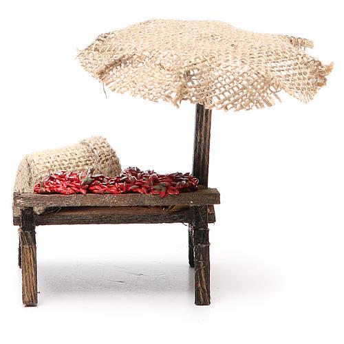 Banco presepe con ombrello peperoncini 12x10x12 cm 4