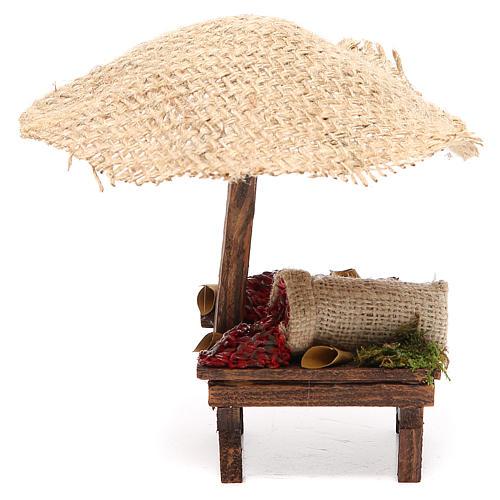 Puesto de mercado para belén con sombrilla y guindillas 16x10x12 cm 1