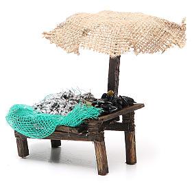 Workshop nativity with beach umbrella, sardine and mussels 12x10x12cm s2