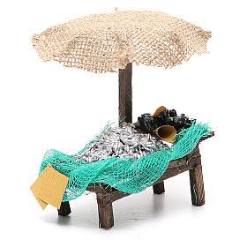 Banco presepe ombrello sardine cozze 12x10x12 presepe 10 cm s3