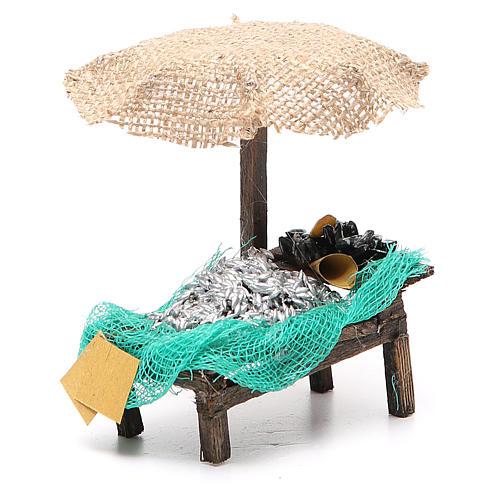 Banco presepe ombrello sardine cozze 12x10x12 presepe 10 cm 3