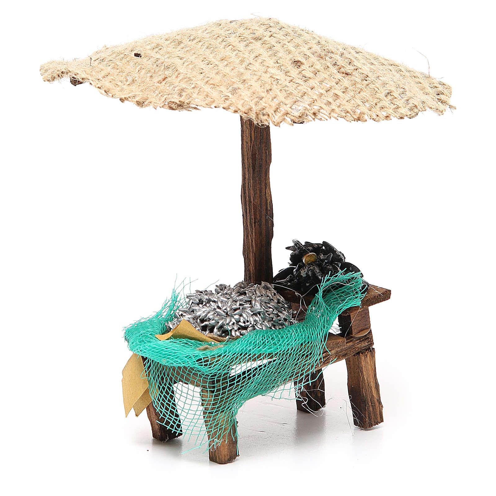 Banchetto presepe con ombrello sardine cozze 16x10x12 cm 4