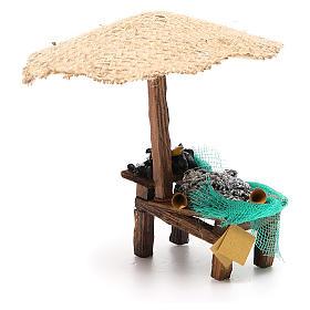 Banchetto presepe con ombrello sardine cozze 16x10x12 cm s4
