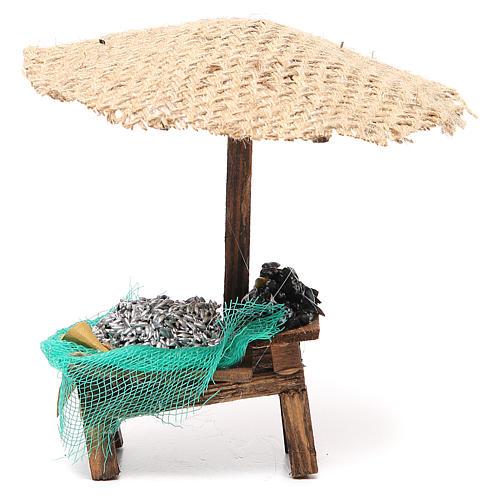Banchetto presepe con ombrello sardine cozze 16x10x12 cm 1
