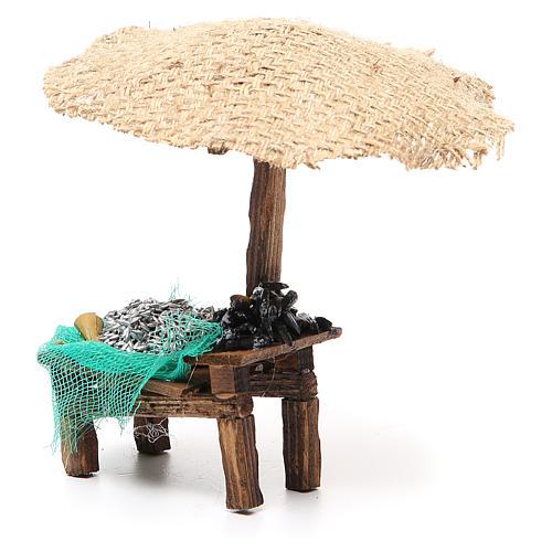 Banchetto presepe con ombrello sardine cozze 16x10x12 cm 2