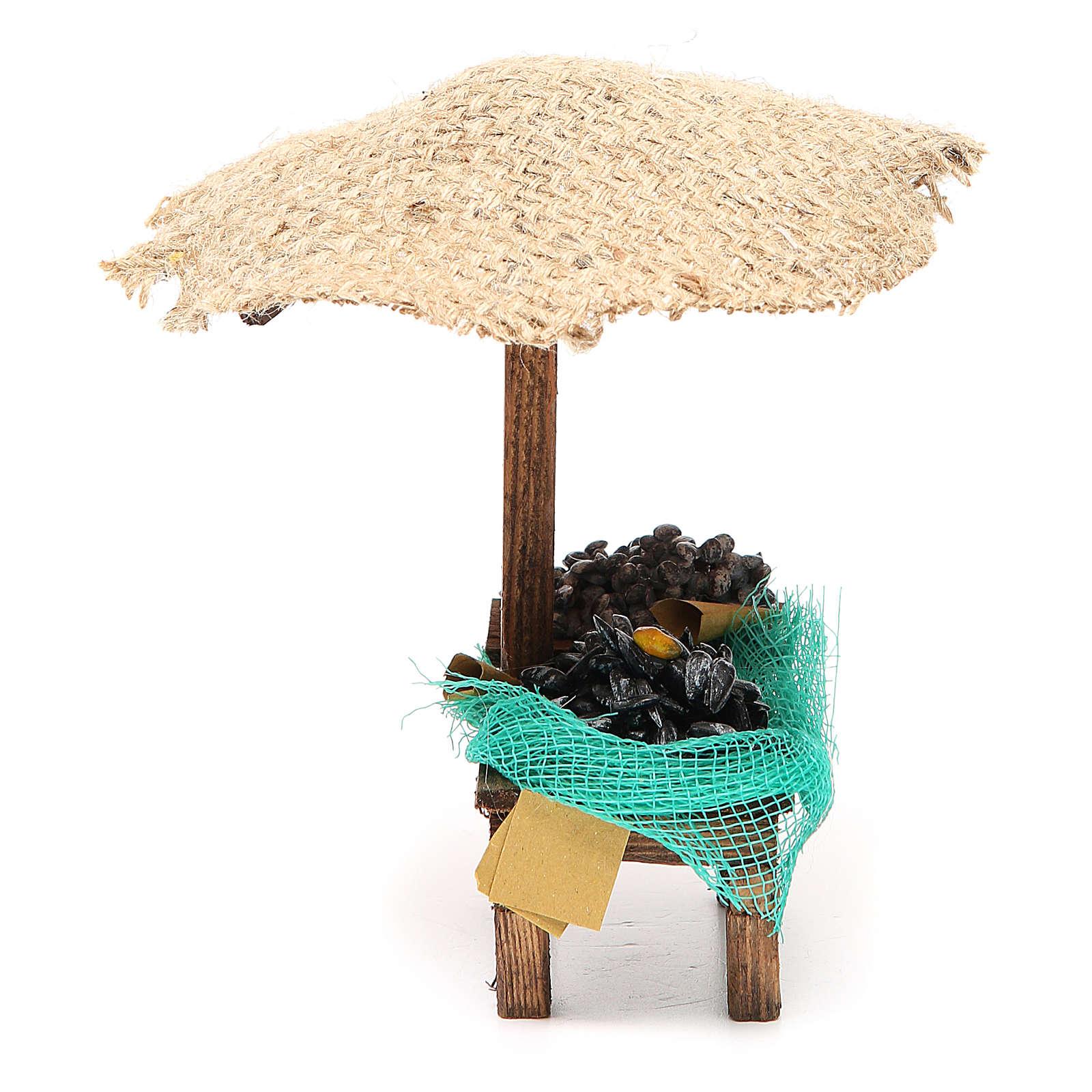 Banco presepe cozze vongole con ombrello 16x10x12 cm 4