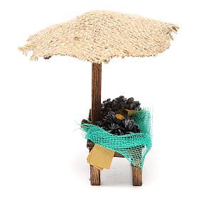 Banco presepe cozze vongole con ombrello 16x10x12 cm s2