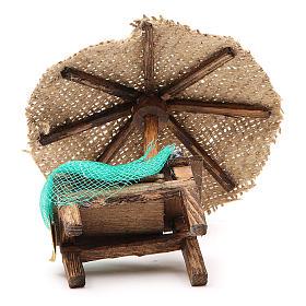 Banco presepe cozze vongole con ombrello 16x10x12 cm s4