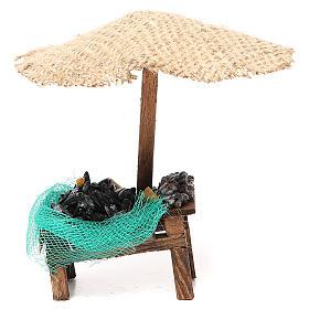 Comida em Miniatura para Presépio: Loja de presépio mexilhões amêijoas com chapéu-de-sol 16x10x12 cm