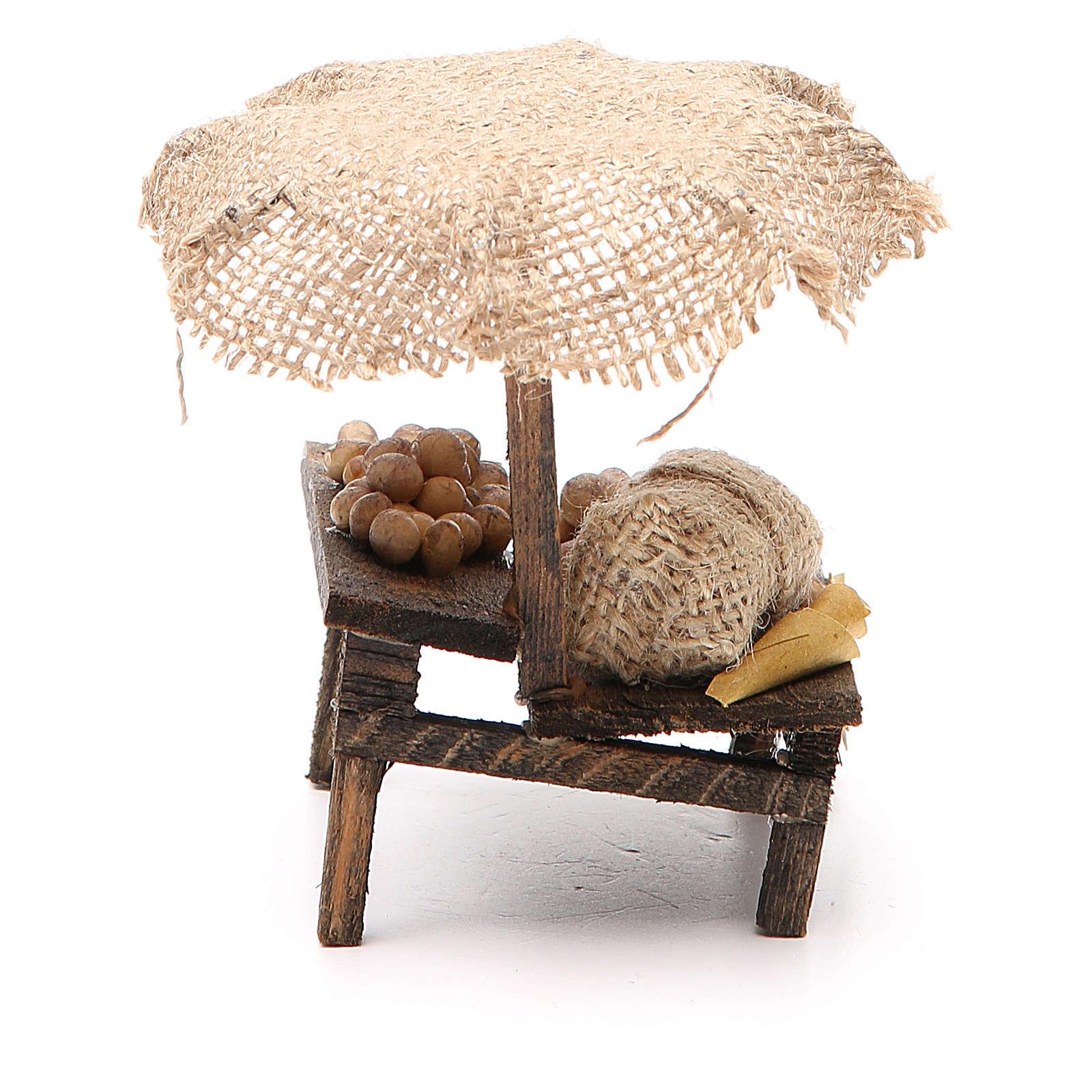 Banc de marché crèche avec oeufs et parasol 12x10x12 cm 4