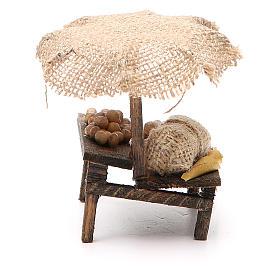 Banc de marché crèche avec oeufs et parasol 12x10x12 cm s2